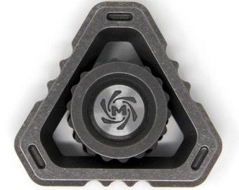 Mechforce Deltacore Tri Long Fidget Hand EDC Spinner Titanium Stonewashed Limited Edition