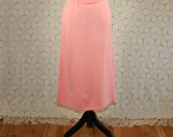 80s Knit Skirt Sweater Skirt Peach Skirt Midi Small Medium Womens Skirts 1980s Vintage Clothing Womens Clothing
