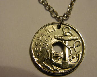 Vintage 1963 Spain Coin Pendant & Chain Necklace Ship Anchor Navy Sailor Unique Hand-Crafted