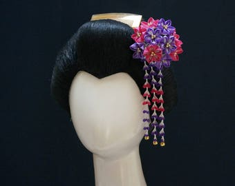 Grand Pink and Purple Bellflower (Kikyo) Tsumami Kanzashi 358