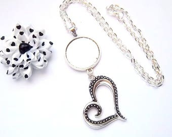 x support silver plated ring 25 mm, stylized Heart Necklace