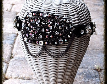 Stud Spike Chain Swarovski Crystal Lace Headband