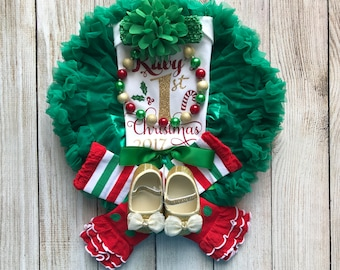 Personalized Baby Girl Christmas Outfit - My First Christmas - Baby Girl Christmas Onesie - Baby's 1st Christmas