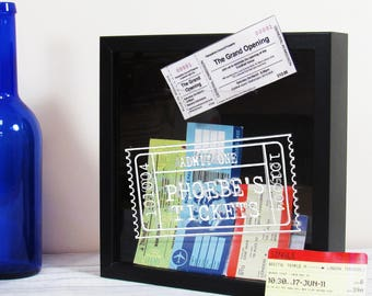 Ticket Collection Box-Personalised Ticket Stub Box-Memory Box-Ticket Keepsake Box-ticket stubs-ticket display box-ticket box-box for tickets