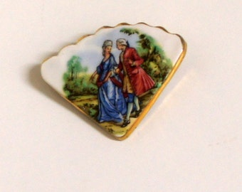 Vintage Porcelain Cameo Courtly Love Fan Scalloped Edge Brooch Pin ~