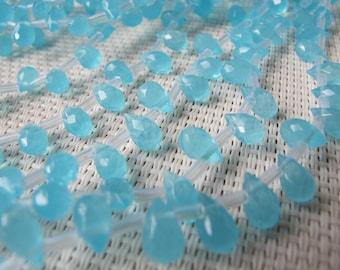 5x7mm Blue Quartz Faceted Briolette Bead S61