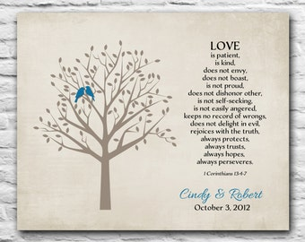 Personalized Anniversary Gift First Wedding Paper Gift for Wife from Husband Bible Verse Corinthians 13 Poem Art Print 8x10 1 year 5 years