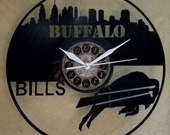 BUFFALO BILLS vinyl record clock
