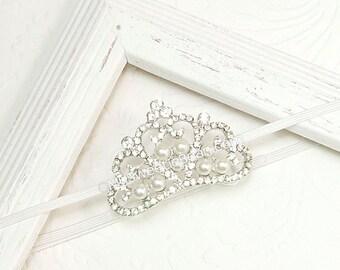Princess Headband,  Ready To Ship Crystal Tiara for Babies, Princess Crown, Headband for Baby Girls, Infant Crown, Baby Tiara, Baby Bling