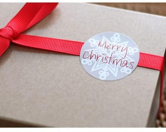 24pcs Packaging Stickers, round, Merry Christmas