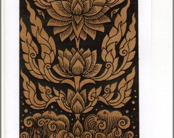 Thai traditional art Lotus by printing on Sepia paper card_a