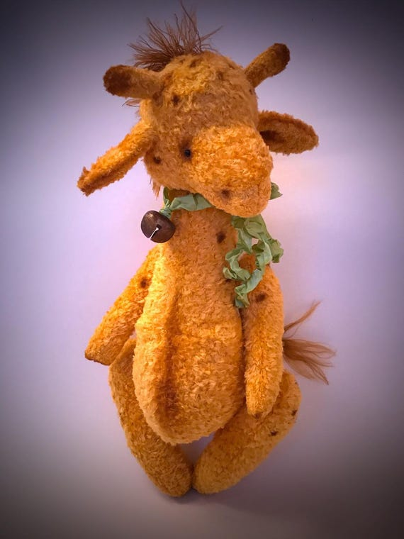 Handmade OOAK giraffe, teddy,nursery decor, plush giraffe, viscose, large size, animal nursery theme