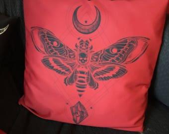 Death Moth Throw Pillow Cover