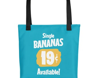 Single Bananas All Over Printed Tote Bag