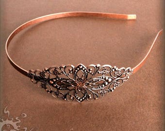 5 Headbands with Filigree Findings, Metal Headband, 4 Colors