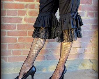 Steampunk Witchy Black Pirate Pants ~ Lace Ruffle Capri Bloomers ~ Burning Man Victorian Gothic Cosplay ~ Belly Dance Fusion Vampire