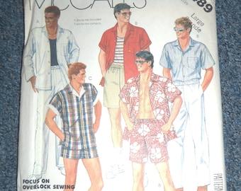 Uncut Sz LG Men's Mccalls 2489 Shirt, Pants, Shorts, or swimsuit