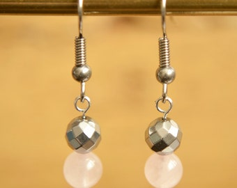 Rose Quartz Earrings - Pink Gemstone Earrings - Pastel Pink Jewellery - Hypoallergenic - Sensitive Ears - Romantic Gift - Gift For Her