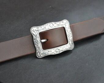Dark Brown Leather Belt