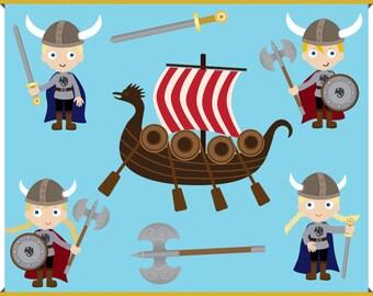Viking Clip Art - Instant Downloads - Axe, Sword, Ship, Warriors - Boy Girl