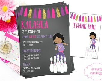 Bowling Party Invitation - Digital Bowling Invite - You Print - Customized Bowling Invitation - Girl Bowling Party - Printable Invitation
