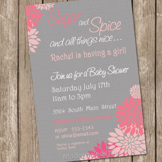 Sugar And Spice Baby Shower: Flower Sugar And Spice Girl Baby Shower Invitation Pink