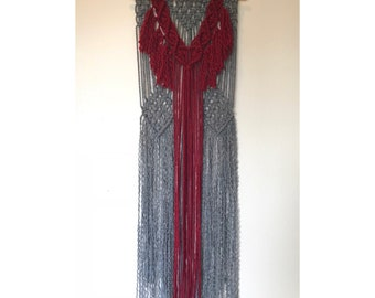 12in Macrame Wall Hanging Maroon and Grey