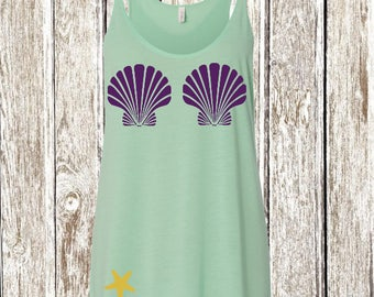 Mermaid Flowy Tank Top Shirt Seashell Bra Glitter
