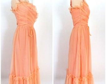 Long blush ruffle chiffon dress
