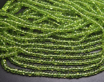 7 Inches Strand,Natural Peridot Smooth Rondelles,Size 3.5-4mm
