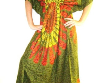 When the sun sets....Don't Worry Be Hippy Printed Kaftan ARMY GREEN