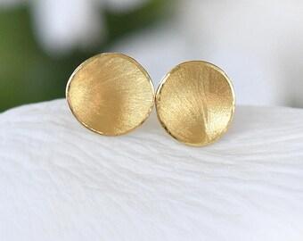 Flower Petal Ear Posts, Ethical 18k Gold