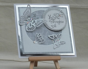 Handmade 'You're in my thoughts' female blank greeting card with butterflies