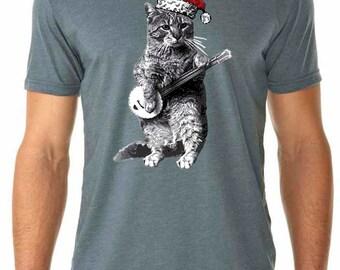 cat shirt - banjo shirt - cat tshirt - cat gifts - cat lover gift -Christmas cat - music gift - mens tshirt -CHRISTMAS BANJO CAT - crew neck