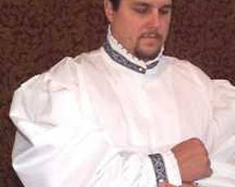 Rapier Shirt Blackwork Collar - Pleated Collar Cuffs SCA Fencing Armor