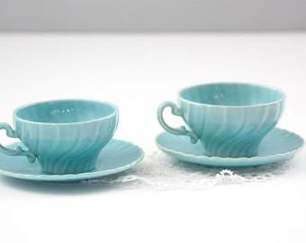 Coronado Blue Tea Cups and Saucers by Franciscan, Mothers Day