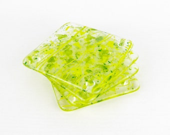 Fused glass drinks coasters, yellow green coasters, unique handmade coasters, four glass coasters