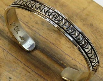 Medium to Large, Stamped Sterling Silver Cuff Bracelet