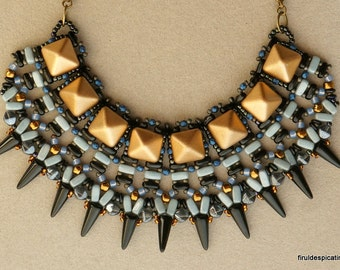 Ursids Necklace / Silver grey and bronze beaded bib necklace with czech pyramids, spike beads, 2-hole bricks and bars / BEADING PATTERN ONLY