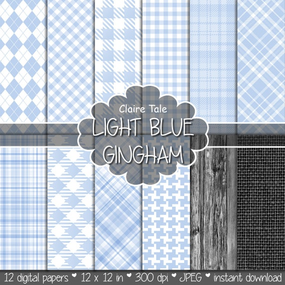 Light blue gingham digital paper, Light blue background, Light blue tartan, Light blue rhombus paper, Light blue baby background printable