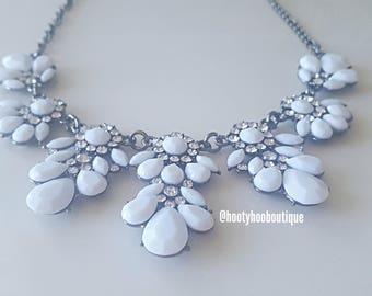 Statement Necklace White Crystal Flower Cluster Chandelier Statement Necklace Weddings Bridesmaids Necklace Chunky Necklace Prom Necklace