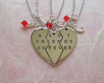 Best Friends Forever Broken Heart Necklaces, Best Friends Forever Necklace, Personalized Broken Heart Necklace, Broken Heart Necklace, K44