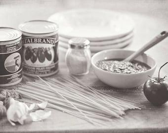 Food Photography - Kitchen Art - Pasta - Italian - Still Life - Fine Art Photography Prints - Black & White Kitchen Decor