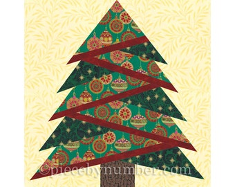 Pine Tree quilt block pattern, paper piecing quilt pattern, Christmas tree quilt paper pieced pattern, holiday decor, rustic home decor, PDF