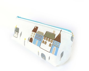 Planner Pen Pouch, Pencil Case, Triangle Case, Stationery Case, Travel Kit, Large Zipper Pouch, Cute Kawaii House Blue, Student Gift for Her