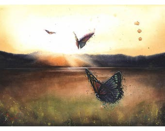 WATERCOLOR SUNSET PAINTING - sunset print, butterflies wall art, landscape watercolor, butterfly print, butterfly art, butterfly decor