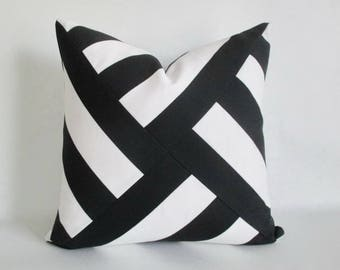 Mitered Pinwheel Pillow Cover Black White Stripes Indoor Outdoor