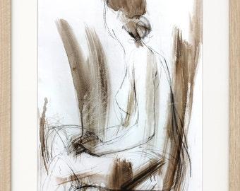 Charcoal sketch, Original Woman drawing, Mixed media graphic artwork, Figurative Wall art, Abstract Female Figure art sketch, Woman sketch
