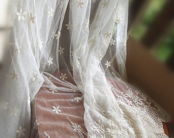 ivory lace fabric, embroidered tulle lace fabric with scalloped edge