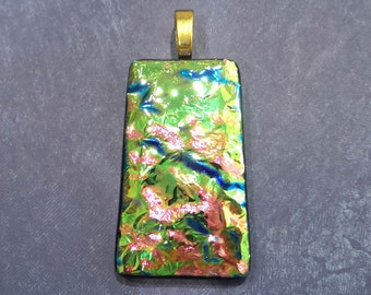 Dichroic Necklace, Green Yellow Pink Blue, Fused Glass Pendant, Fused Glass Jewelry, Large Gold Bail, Ready to Ship - Louise--5